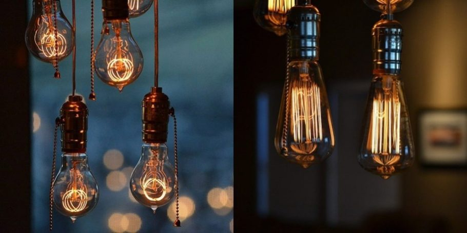 Decorative light bulbs on beautiful background