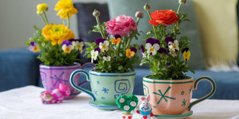 Upcycled tea cups as flower pots