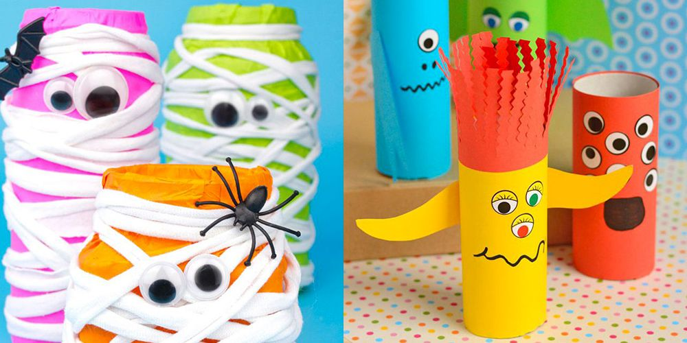 Halloween crafts for preschoolers made by upcycled materials